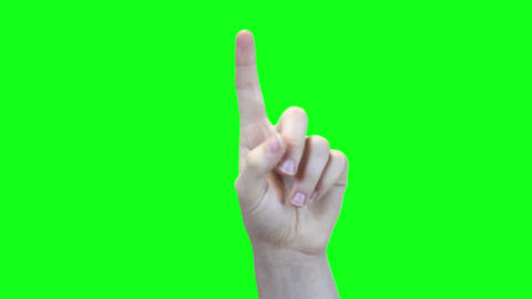 Female hand points upward over green with matte included Footage