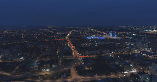 Illuminated city communications from a bird's-eye view Footage