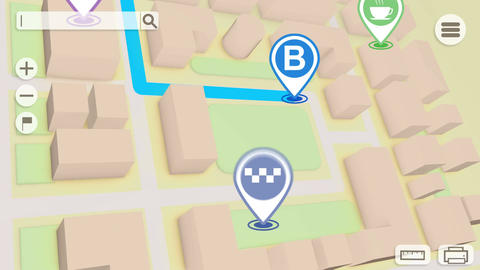 Animation of City map with GPS Icons Animation