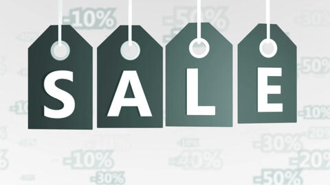 Gray Hanging Price Tags with Sale labels Animation