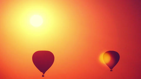 Hot Air Balloon Silhouettes At Sunrise stock footage