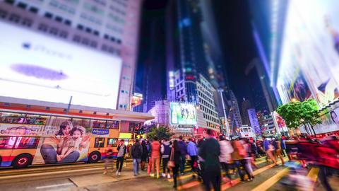 hong kong city crowded street night view. tilt shift Footage