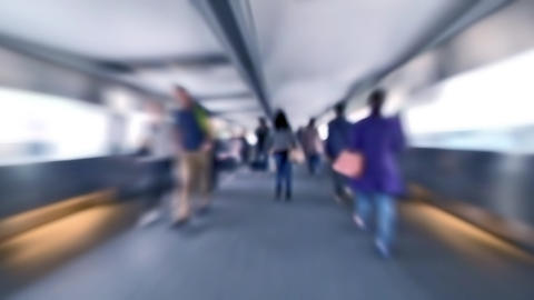 Slow motion video of people moving in crowded tunnel at Hong Kong city street Footage