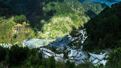 Time lapse of rice terraces fields in Ifugao province mountains. Philippines Footage
