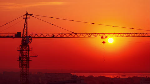 Cityscape view with crane silhouette at construction. Yangon, Myanmar Footage