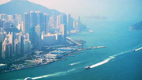 Aerial view of Hong Kong Island. Busy Financial District at Victoria Harbor Footage