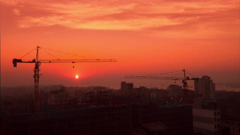 Cityscape View With Crane Silhouette At Construction. Yangon, Myanmar stock footage