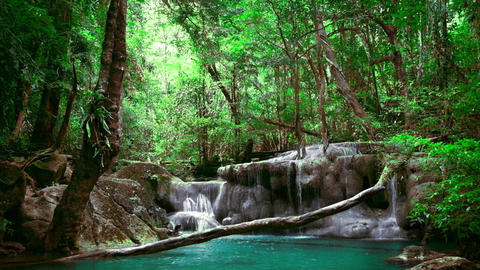 Jangle landscape with Erawan waterfall. Thailand. With original audio Live Action