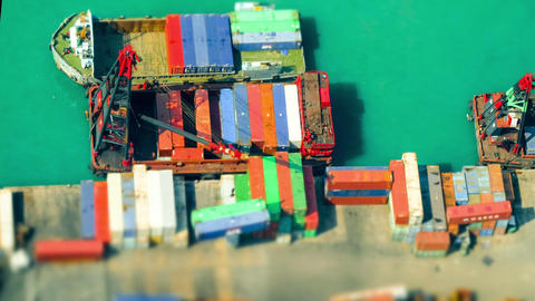 Cargo port terminal. Hong Kong. Time lapse, tilt shift Footage