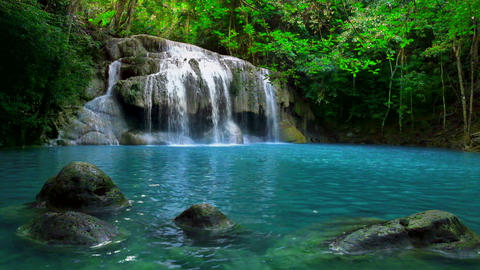 Erawan cascade waterfall. National Park Kanchanaburi, Thailand Footage