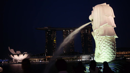 Merlion in the Evening,Singapore Footage