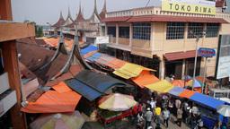 Market With Multi Colored Roofs,Bukittinggi,Sumatra,Indonesia stock footage