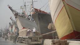 Ships being loaded at Sanda Kelapa,Jakarta,Indonesia Footage