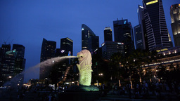 Merlion and Skyline in the evening,Singapore Footage