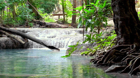 Jangle landscape with Erawan waterfall. Thailand Footage