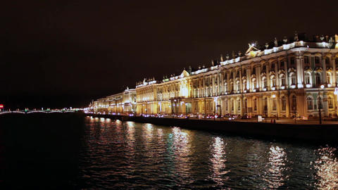Hermitage Museum At Night stock footage