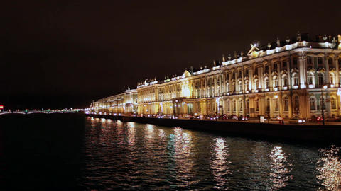 Hermitage Museum at night Stock Video Footage