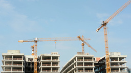 Building construction with crane - blue sky Footage