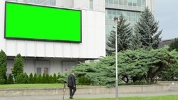 billboard&television on a building - green screen - street with people - clo Footage