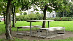 benches in the park (grass and trees) - housing estate with cars in background Footage