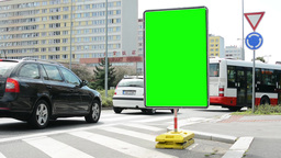 traffic signs - green screen - passing bus and cars - housing estate with trees  Footage