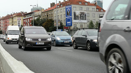 city ​​- urban street with cars - traffic jam - shot form the fornt Footage