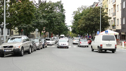 urban street with cars - walking people. Trees and building Footage