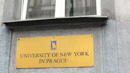 sign on the building with window - University of New York in Prague Footage