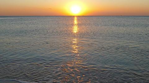 beauty beach landscape with sunrise over sea, 4k Footage