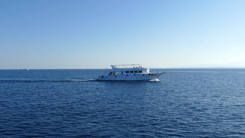 White Yacht Sailing The Red Sea, Egypt, 4k stock footage