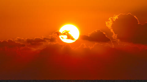 beauty landscape with sunrise over sea, timelapse Footage