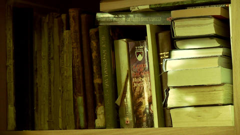 Shelf With Old Book Footage