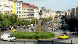 Wenceslas Square with people and passing cars - buildings and nature(trees and b Footage