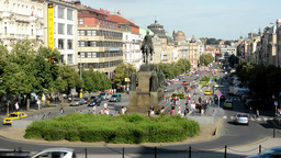 Wenceslas Square with people and passing cars - timelapse - buildings and nature Footage