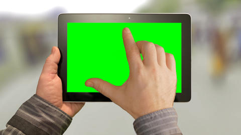 Walk With Tablet PC, Green Screen On A Green Background stock footage