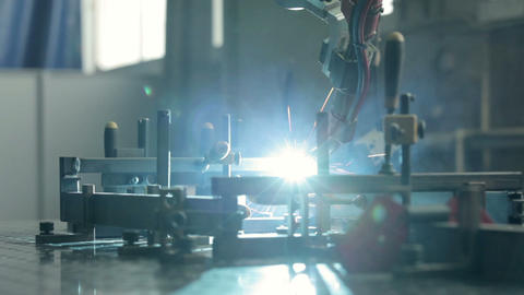 Close-up welding robots works Footage