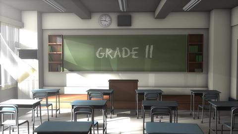 Empty Grade 11 school classroom Animation