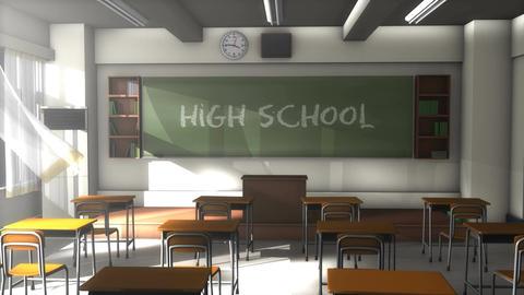 Empty high school classroom Animation
