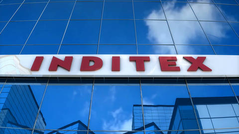 Editorial, INDITEX logo on glass building Animation