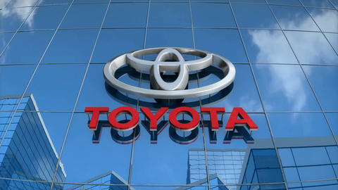Editorial, Toyota logo on glass building Animation