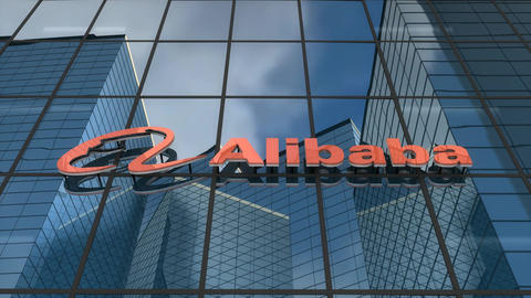 Editorial, Alibaba logo on glass building Animation