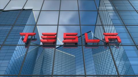 Editorial, Tesla logo on glass building Animation
