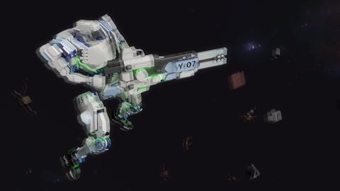 Battle robot shooting laser gun Stock Video Footage