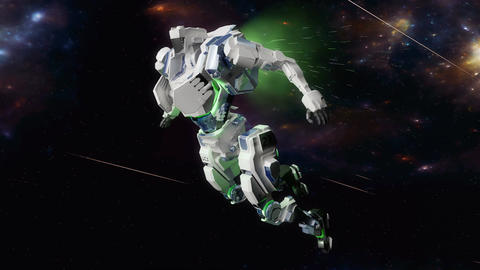 Space battle robot flying at high speed in space Animation