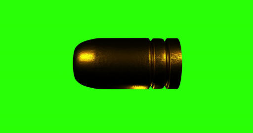 Green screen loopable 9mm bullet flying with matte included Animation
