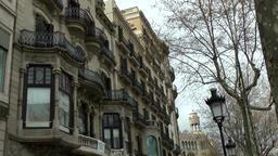 Spain Barcelona 050 balconies and oriels in Passeig de Gràcia Footage
