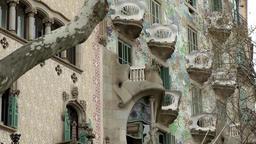 Spain Barcelona 053 house Casa Batlló from Gaudi in GaudiPasseig de Gràcia Footage