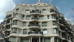 Spain Barcelona 059 Casa Milà from Antoni Gaudi in Passeig de Gràcia Footage