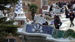 Spain Barcelona 076 Antoni Gaudi Park Güell observation platform Footage
