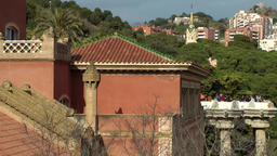 Spain Barcelona 078 Park Güell historic building and terrace Footage